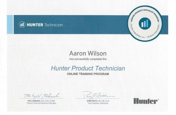 Four Seasons Landscape Management is a certified Hunter Product Technician